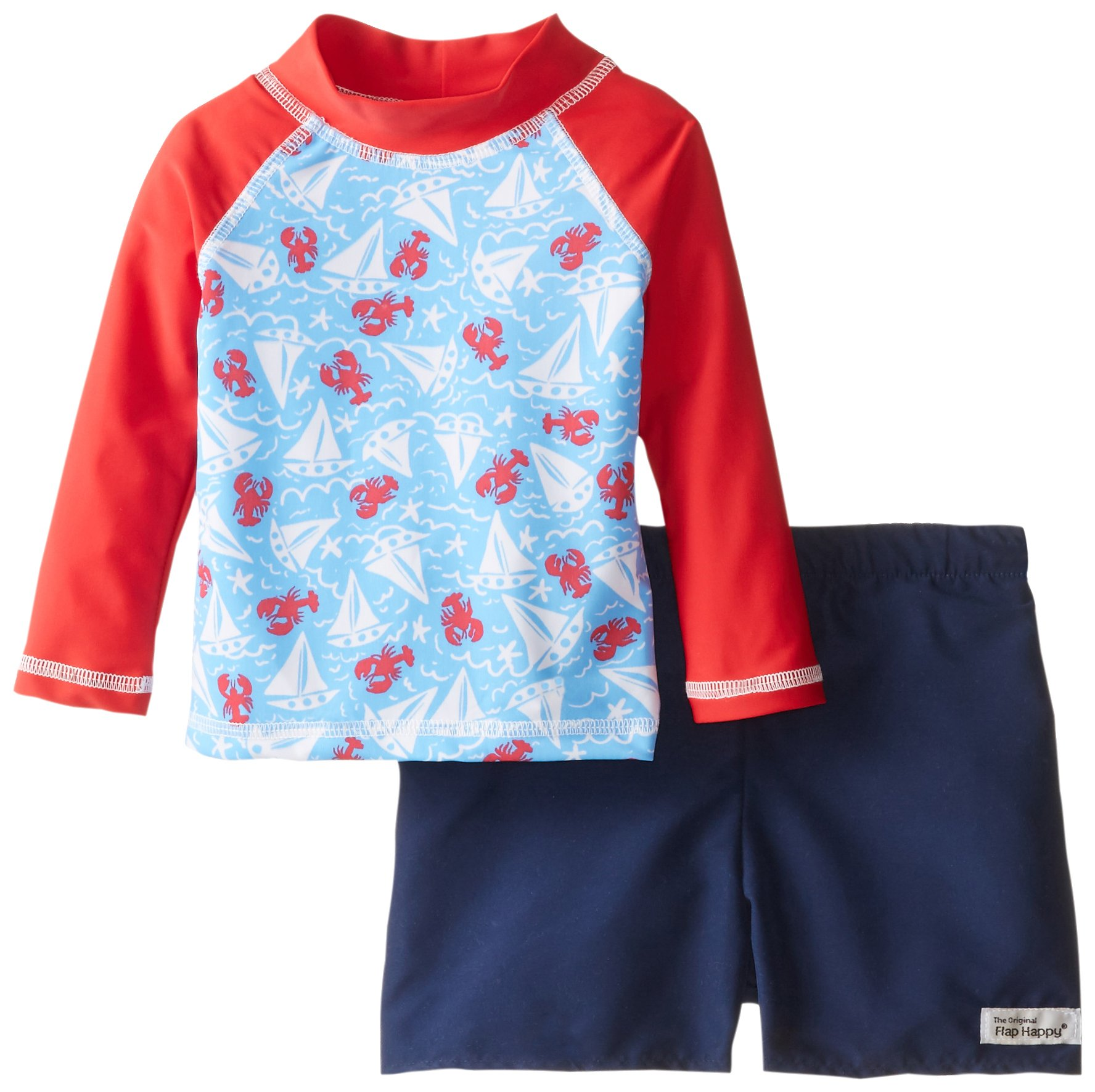 Flap Happy Baby Boys' Rash Guard Swim Long Sleeve Top and Trunks, Somersault Sails, 12 Months by Flap Happy