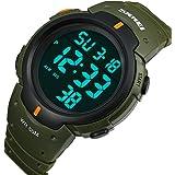 Multi Function Men's Watch Water Resistant Boyfriend Sports Watch Outdoor Digital LED Display (Green)