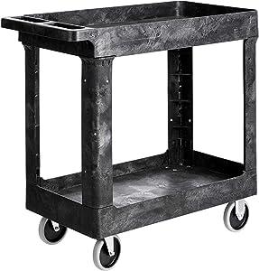 AmazonBasics 2-Shelf Multipurpose Plastic Tub Utility Cart with 500-Pound Capacity - Black