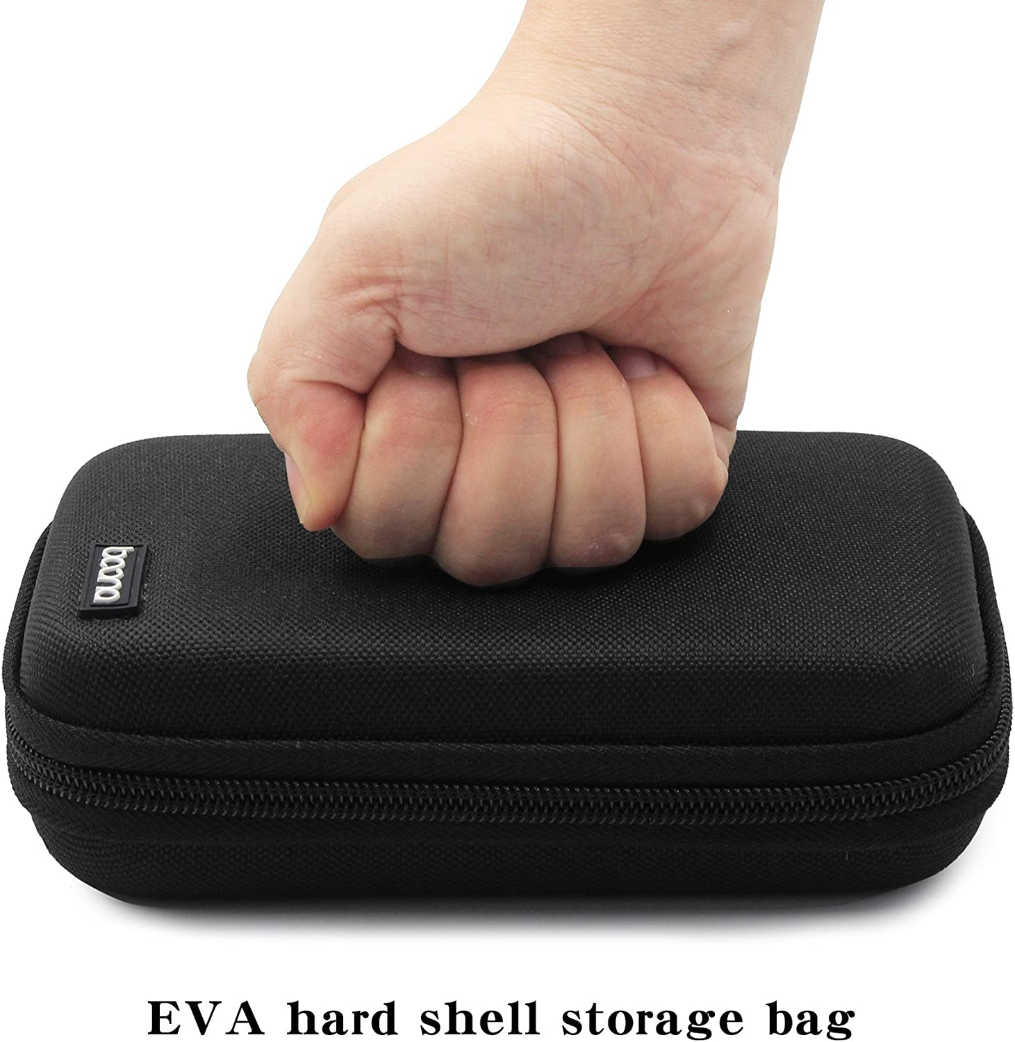 BOONA Double Layer Black Shockproof Hard Drive Carry Case for 2.5 inch WD Western Digital and USB Cable