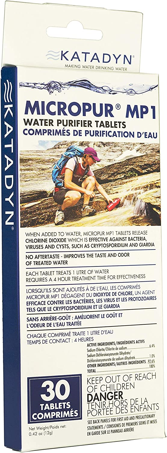 Katadyn Micropur MP1 Water Purification Tablets (30 Count) : Camping Chemical Water Treaters : Sports & Outdoors