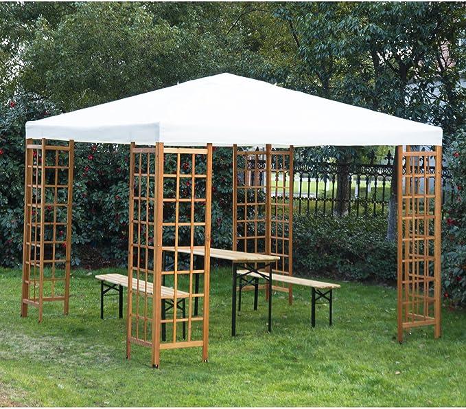 Outsunny Cenador 3 x 3 m para Patio o jardín, Estructura de Madera, toldo, Carpa, Refugio, pabellón, sin Mesa, Color Beige: Amazon.es: Jardín