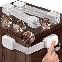 Multipurpose Baby Safety Child Cabinet Lock Latch - Set of 6 Adjustable Locks & 4 Corner Guards - Cupboard Lock to…