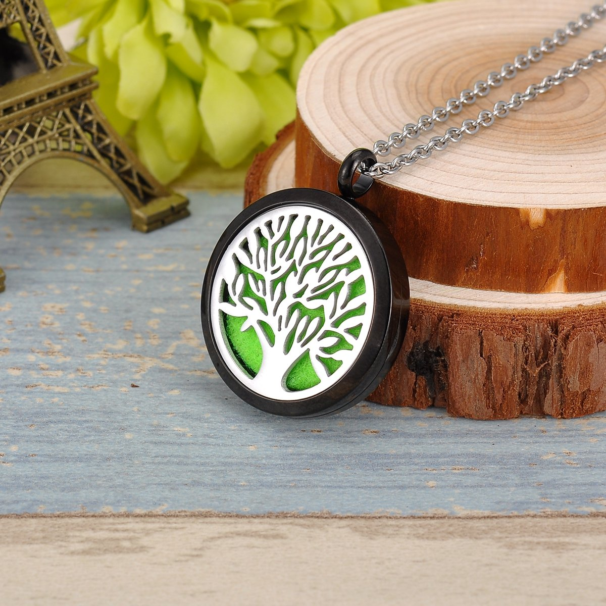 HOUSWEETY Aromatherapy Essential Oil Diffuser Necklace-Stainless Steel Tree of Life Locket Pendant,11 Refill Pads (Non-engraving) by Housweety (Image #3)