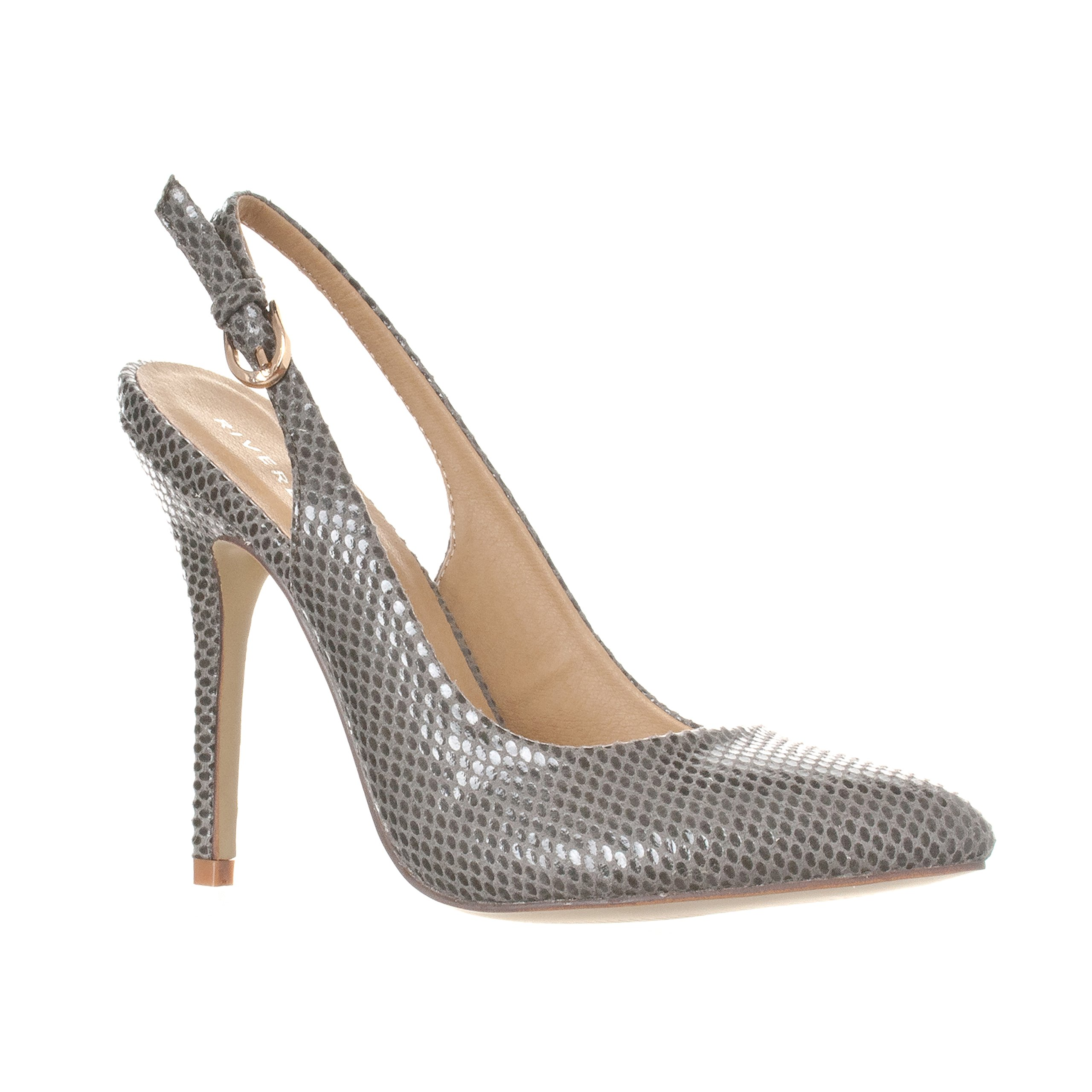 Riverberry Women's Lucy Pointed-Toe, Sling Back Pump Stiletto Heels, Grey Snake, 8
