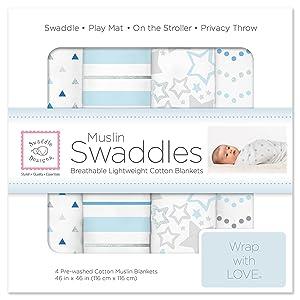 SwaddleDesigns Cotton Muslin Swaddle Blankets, Set of 4, Blue Starshine Shimmer (Parents' Picks Award Winner)