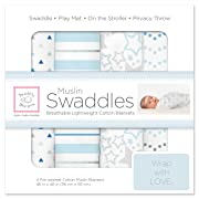 SwaddleDesigns Cotton Muslin Swaddle Blankets, Set of 4, Blue Starshine Shimmer (Parents' Picks Award Winner)