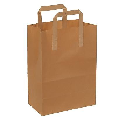 Bolsa de papel – Asa plana – 18 x 8 x 24 – 70 g – 50 piezas – Papel de estraza marrón – no impreso –100% reciclable