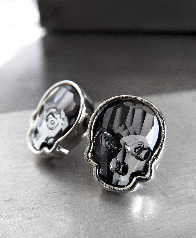 007df8e2fc103 Amazon.com: Black Skull Stud Earrings with Swarovski Crystal, Unisex ...