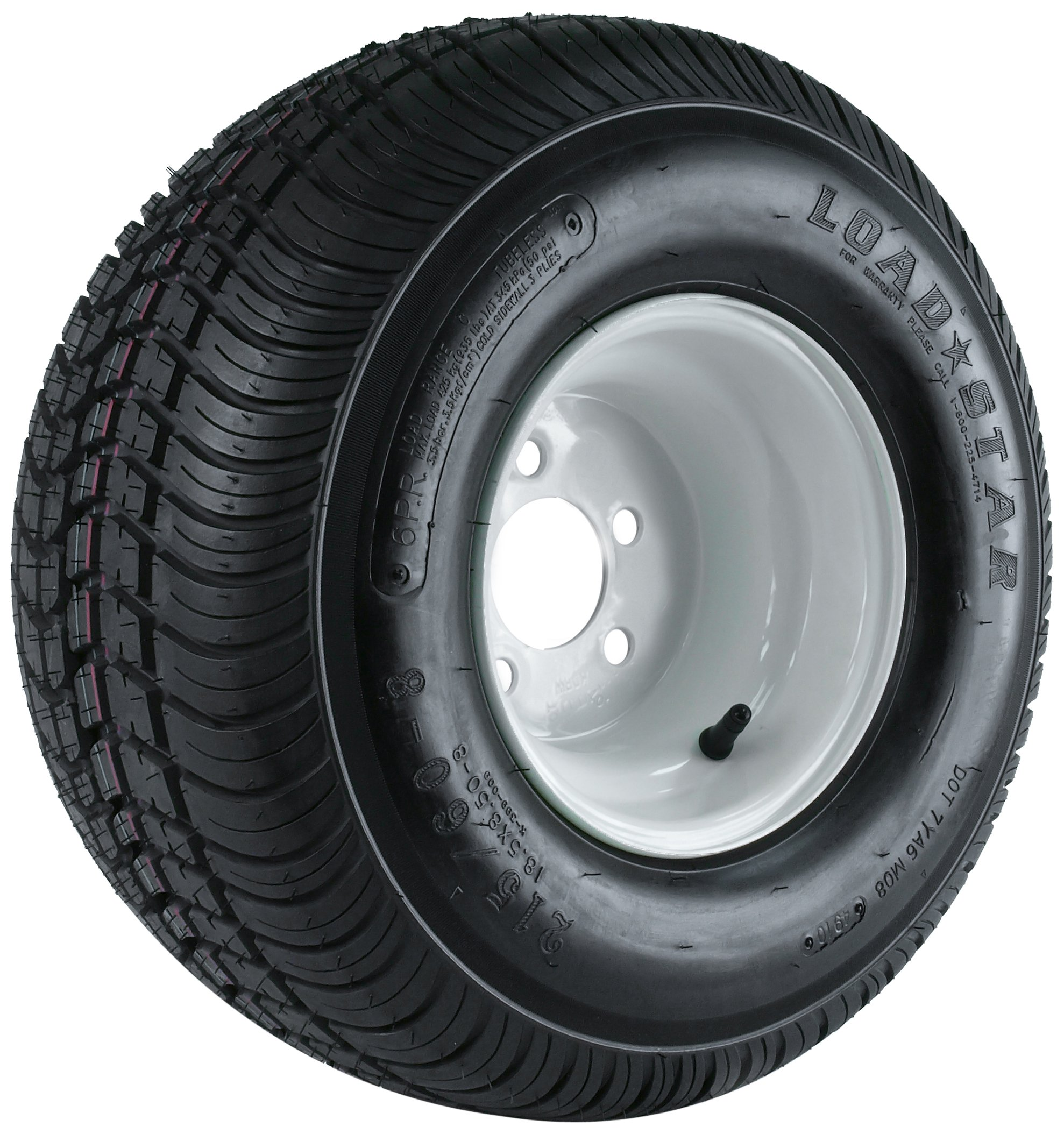 Kenda Loadstar (8x7/5x4.5) Wheel with White Powder-Coat Finish LRC and Trailer Tire Assembly (215/60-8)