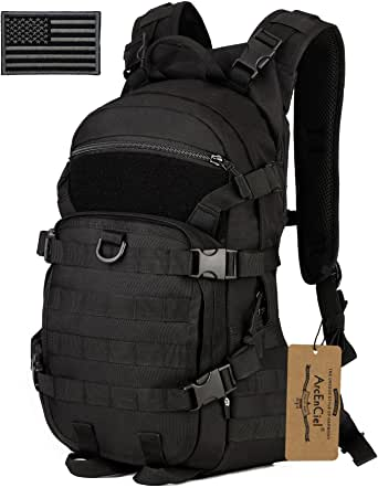 ArcEnCiel 25L Tactical Motorcycle Cycling Backpack Military Molle Pack Helmet Holder with Patch - Rain Cover Included