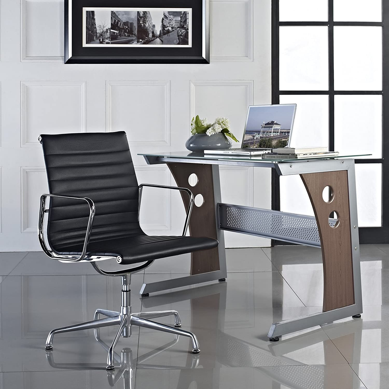 lexmod ribbed mid office. LexMod Ribbed Mid Back Conference Office Side Chair In Black Genuine Leather: Amazon.ca: Home \u0026 Kitchen Lexmod I