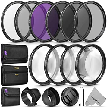 52MM Complete Lens Filter Accessory Kit (UV, CPL, FLD, ND2, ND4, ND8 and  Macro Lens Set) for Nikon D3300 D3200 D3100 D3000 D5300 D5200 D5100 D5000