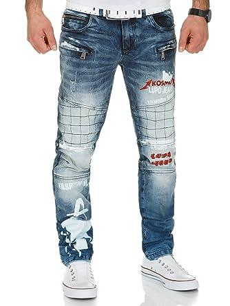 9d72060a6ecd Kosmo Lupo Herren Jeans Hose KM175 Blau W40 L34  Amazon.de  Bekleidung