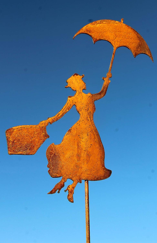 Unbekannt Gartenstecker Mary Poppins Metall Rost Gartendeko Edelrost