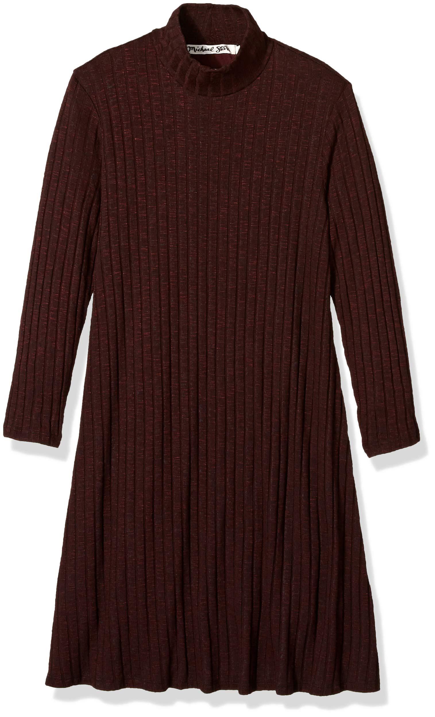 Michael Stars Women's Jasper Poorboy 3/4 Sleeve Mock Neck Swing Dress, Bourbon, XS
