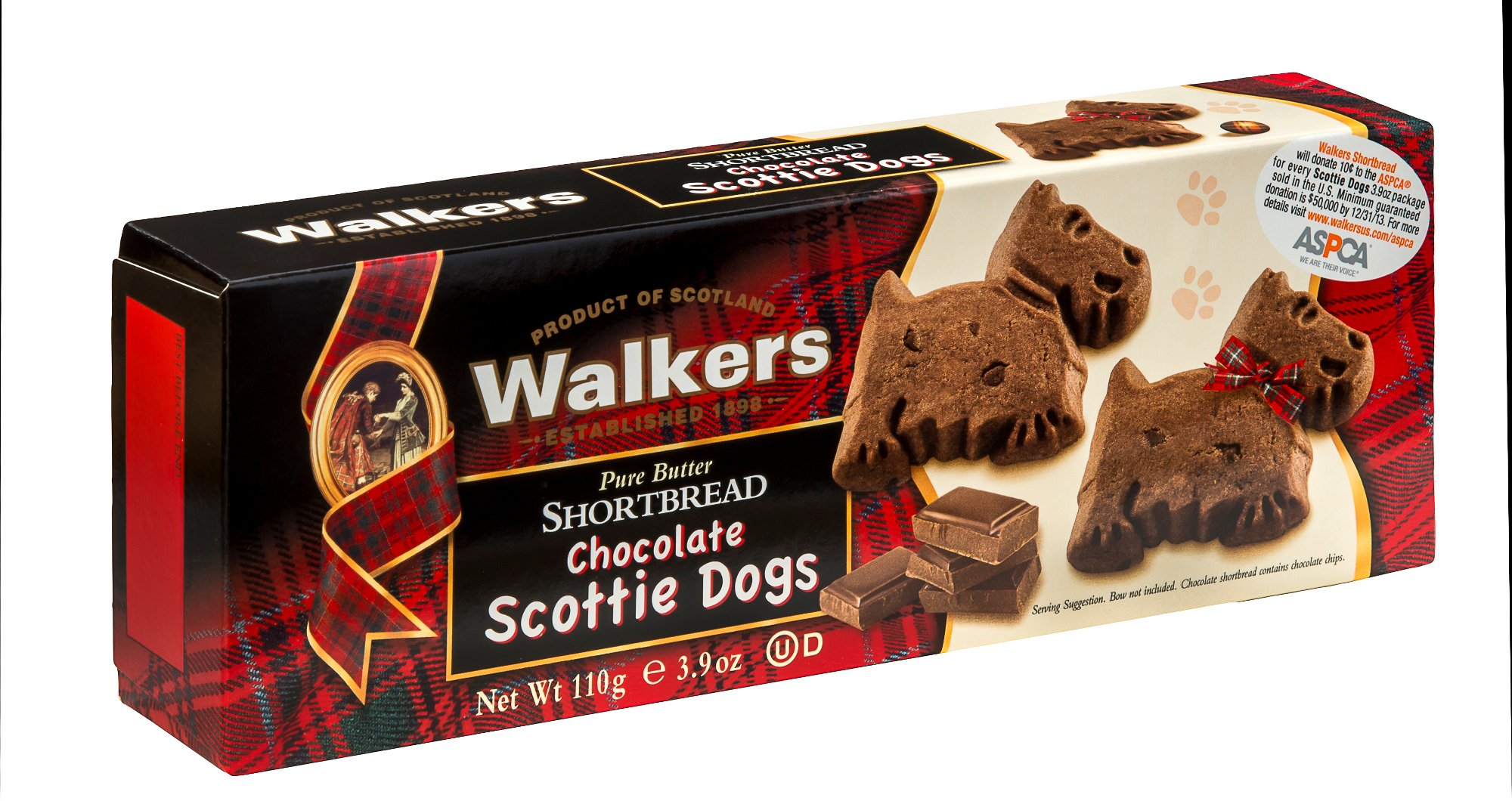 Walkers Shortbread Chocolate Scottie Dogs Shortbread, 3.9 Ounce(Pack of 12)