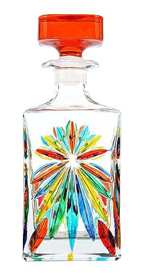 BOTTIGLIA OASIS Botella Licor cristal Mano Colores pintadas Tradición Venecia