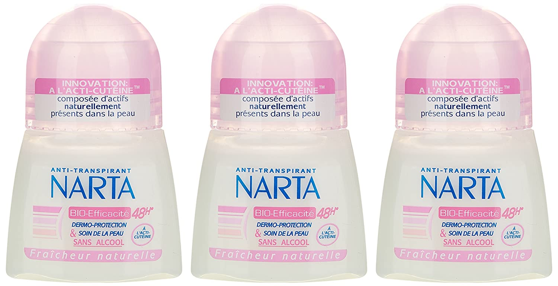 Narta - Déodorant Femme Bille Anti-Transpirant Bio-Efficacité 48h - 50 ml - Lot de 3