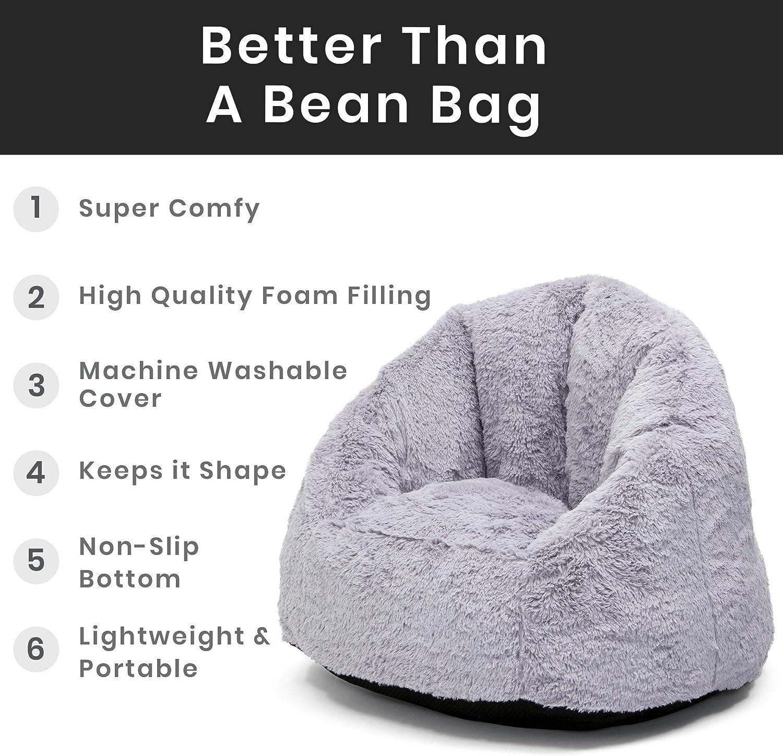 Delta Children Delta Home Adult Lounge Fluffy Foam Filled Living Rooms /& Dorms-Better Than A Bean Bag Chair Grey