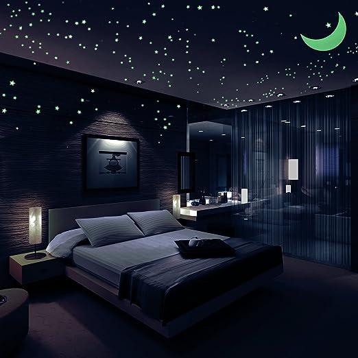 Pegatinas De Estrellas Que Brillan En La Oscuridad Paquete De 446 408 Estrellas 1 Luna 118 1 Ft De Cola Y 1 Guía De Constelación Estrellas Luminosas Estrellas Brillantes Y Calcomanías De Pared