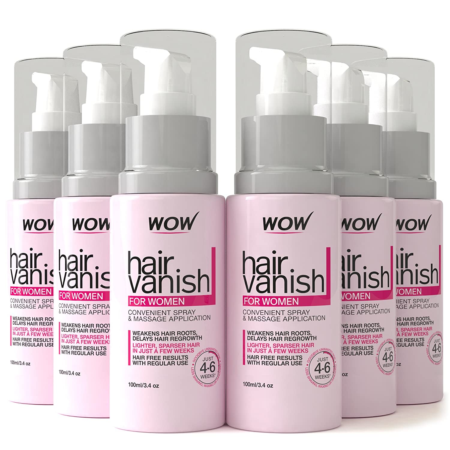 New WOW Hair Vanish for Women - Natural Hair Growth Inhibitor. Lotion & Moisturizer for raw skin, delays Hair Regrowth & Reduces Hair thickness, appearance - New Improved Formula - 3.4 fl oz (6PACK) KAPCO International Ltd
