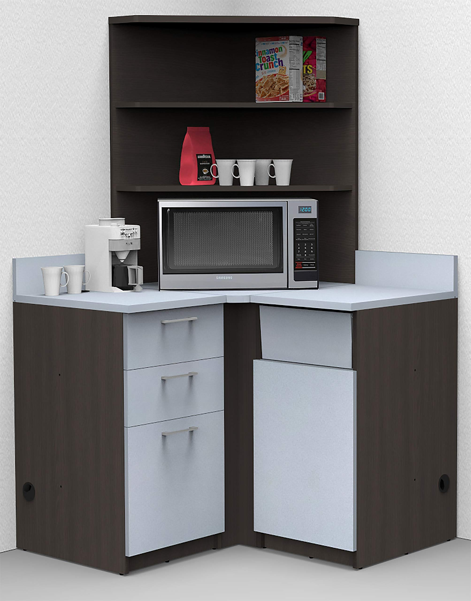 Coffee Kitchen Lunch Break Room Corner Space Saver Model 5990 BREAKTIME 4 Piece Color Espresso/Silver - Fully Factory Assembled. Purchase is Furniture Items ONLY by Breaktime