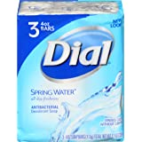 Dial Antibacterial Bar Soap, Spring Water, 4 Ounce, 3 Bars