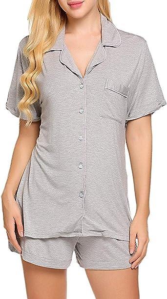 Modfine Mujer de Verano Ropa de Noche 2 Piezas Camiseta Pijama Corto Set