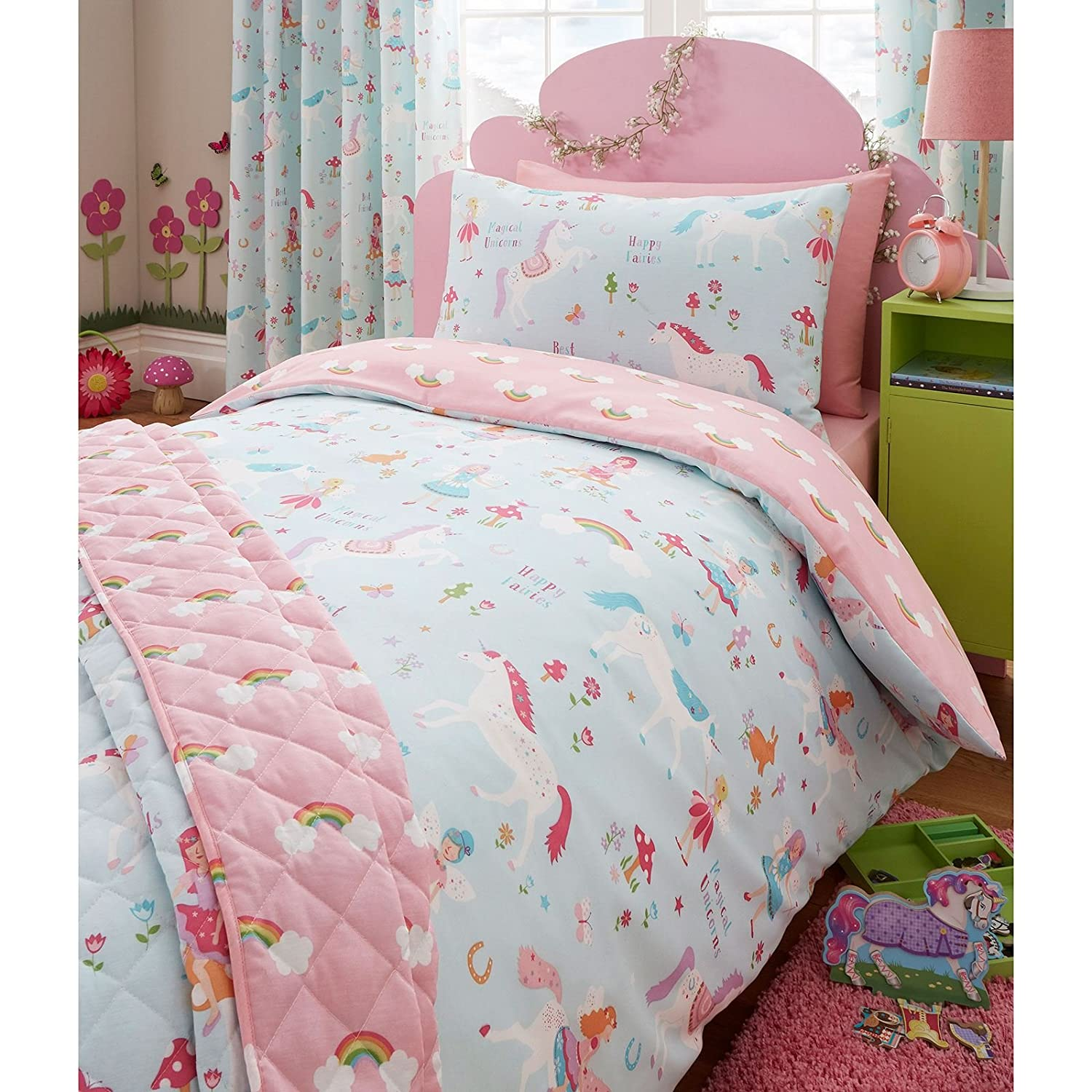 grey itm set double unicorn bed quilt cover duvet girls single bedding