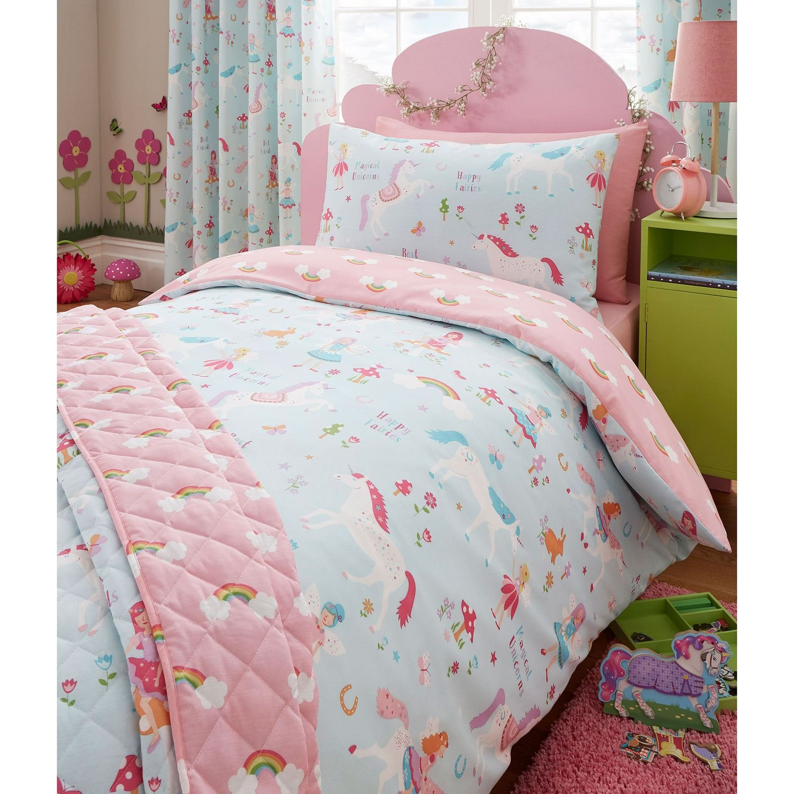 Magical Unicorn Single/US Twin Duvet Cover and Pillowcase Set