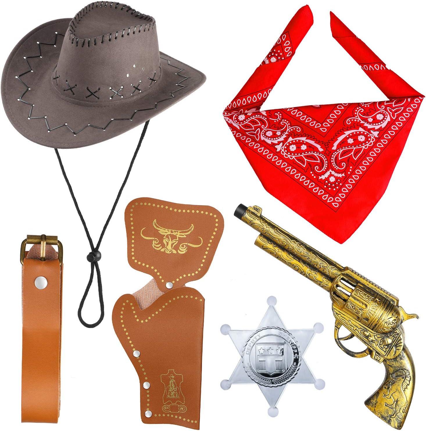 Beelittle Accesorios de Disfraces de Vaquero Sombrero de Vaquero Pistolas de Juguete con Funda de cinturón Juego de Vaquero para la Fiesta de Halloween (B)