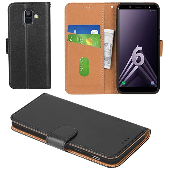 best sneakers f0df2 aa8ea Aicoco Galaxy A6 2018 Case Flip Cover Leather Wallet Phone Case for Samsung  Galaxy A6 2018 - Black