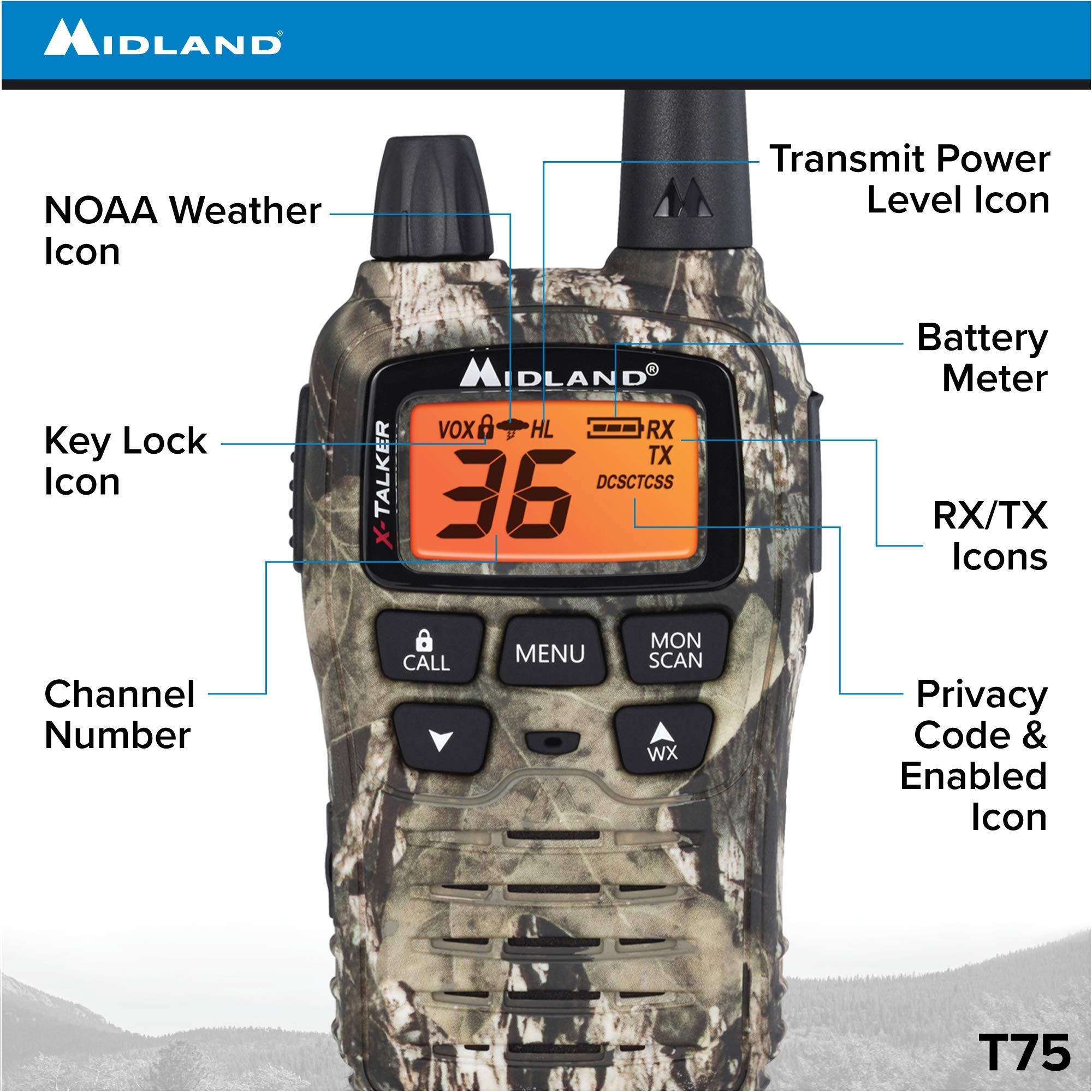 Midland - X-TALKER T75VP3, 36 Channel FRS Two-Way Radio - Up to 38 Mile Range Walkie Talkie, 121 Privacy Codes, & NOAA Weather Scan + Alert (Pair Pack) (Mossy Oak Camo) by Midland (Image #3)