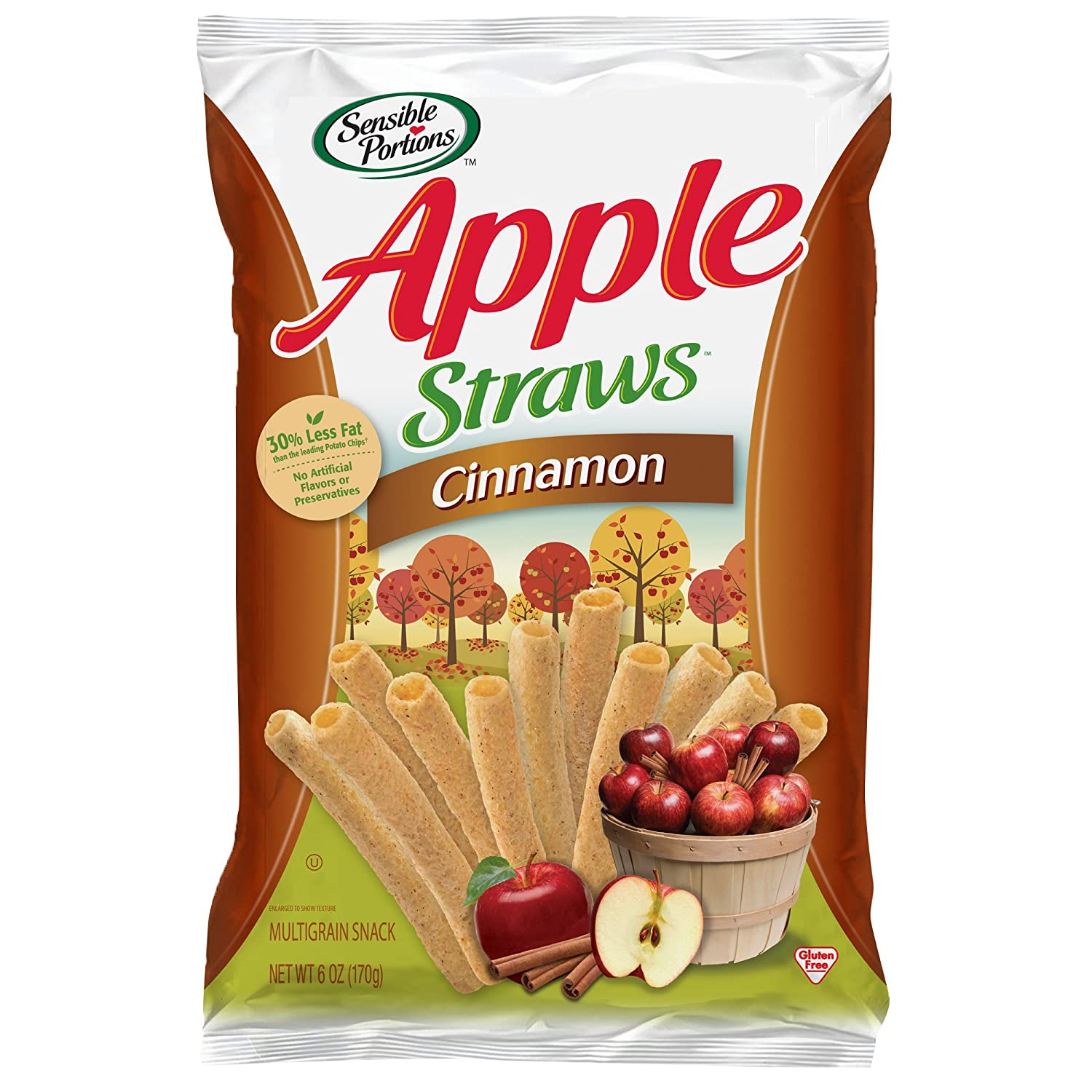 Sensible Portions Apple Straws, Cinnamon, 6 oz. (Pack of 6)