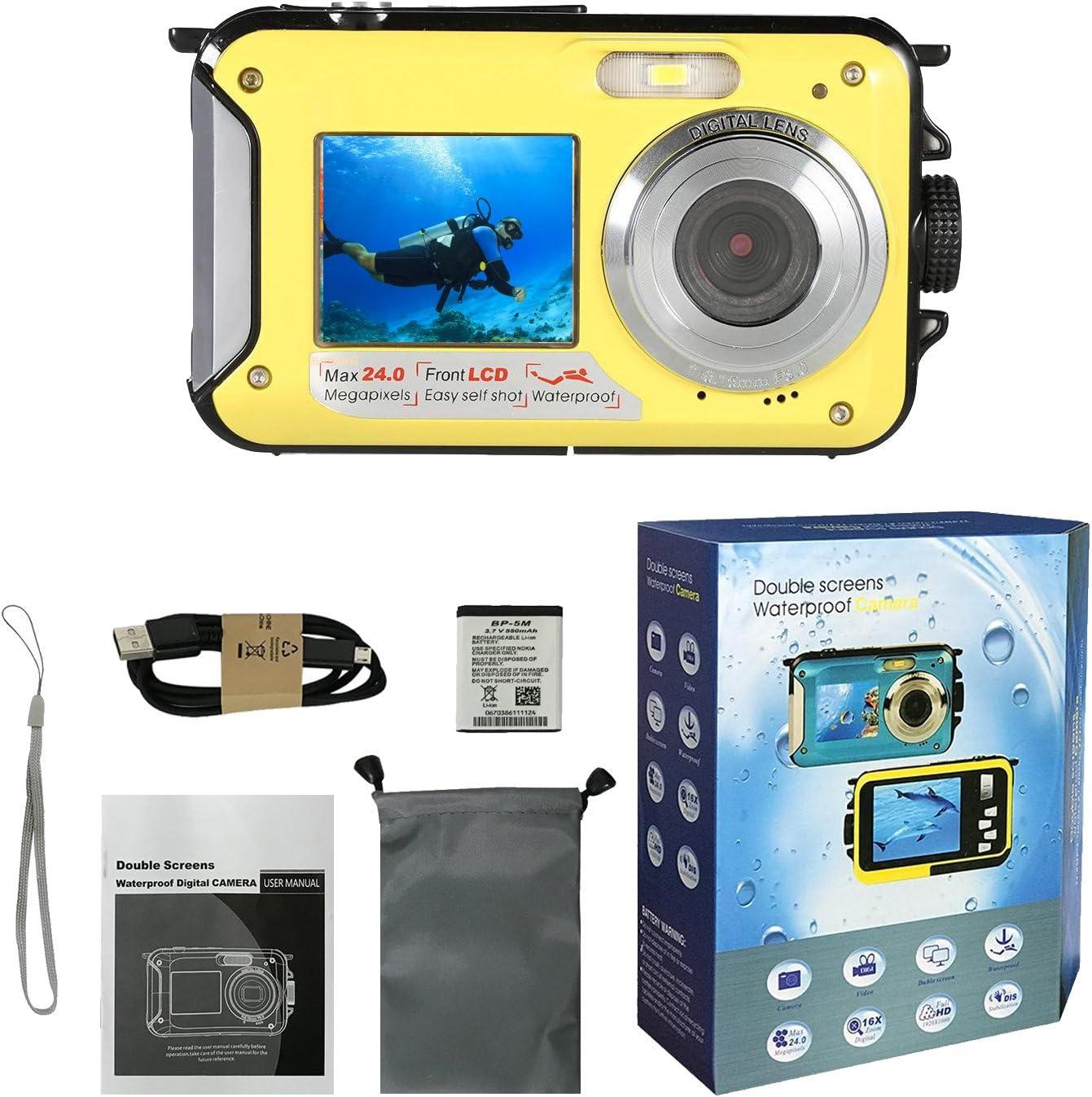 Waterproof Digital Camera Underwater Cameras,Waterproof Underwater Digital Cameras for Snorkelling Travel Holiday Selfie Dual Screen