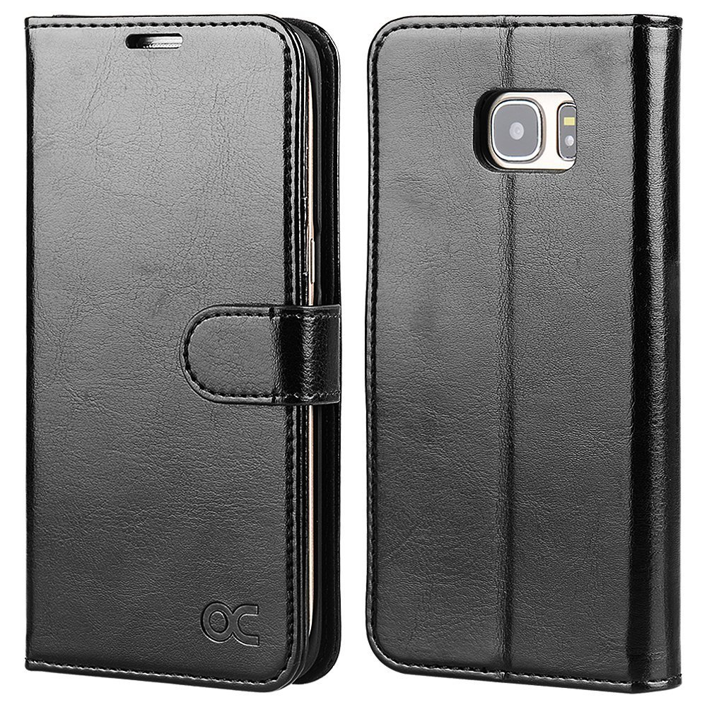 OCASE Galaxy S7 Edge Case Leather Wallet Flip Case For SAMSUNG Galaxy S7 Edge (Black)