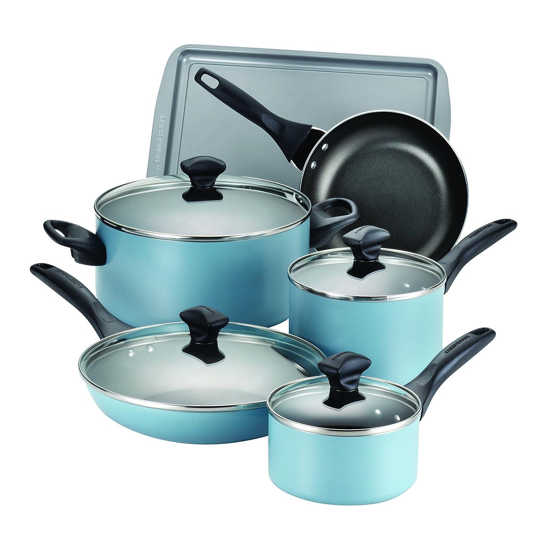 15 piece dishwasher safe nonstick cookware set aqua farberware kitchen even heat ebay. Black Bedroom Furniture Sets. Home Design Ideas
