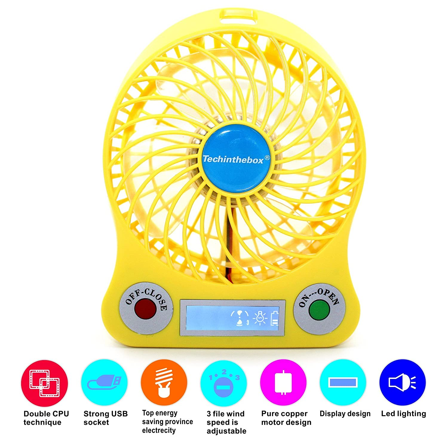 TechIntheBox LED display Portable Fan 4-inch 3 Speeds Mini USB Rechargeable Fan with LED Light Powered By Electric-powered or 18650 Lithium Rechargeable Battery Micro USB Cable Via USB Port of Notebook/ Computer, Cool Fan for Desktop Indoor and Outdoor Act