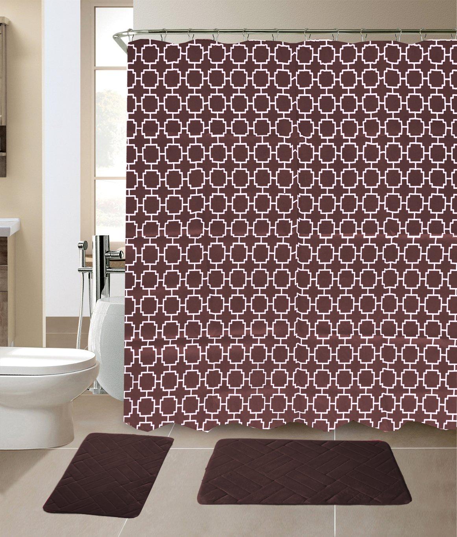 amazon com empire home fashi 15 pc brown geometric memory foam rh amazon com Microfiber Bathroom Rug Set Memory Foam 3 Piece Bathroom Rug Sets