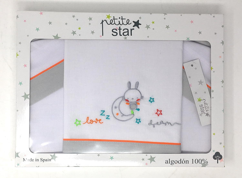 100/% algod/ón S/ábanas color blanco y gris dise/ño dream Petite stars 00323020