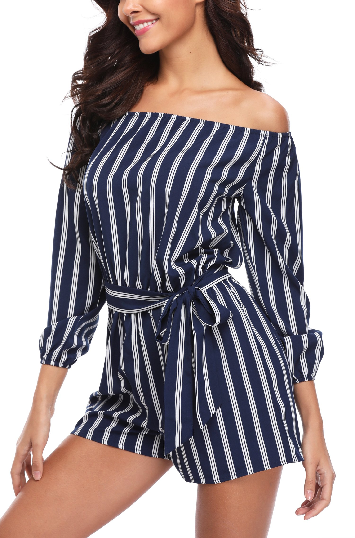 Jumpsuit for Women Off Shoulder 3/4 Sleeves Striped Strapless Sexy Cute Casual Summer Rompers Playsuits