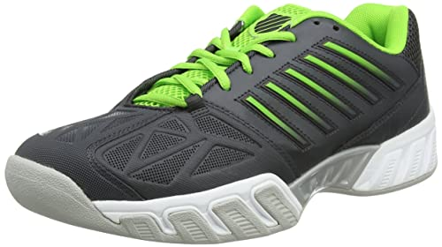 Mens Bigshot Light 3 Carpet Tennis Shoes, Grey/Green K-Swiss