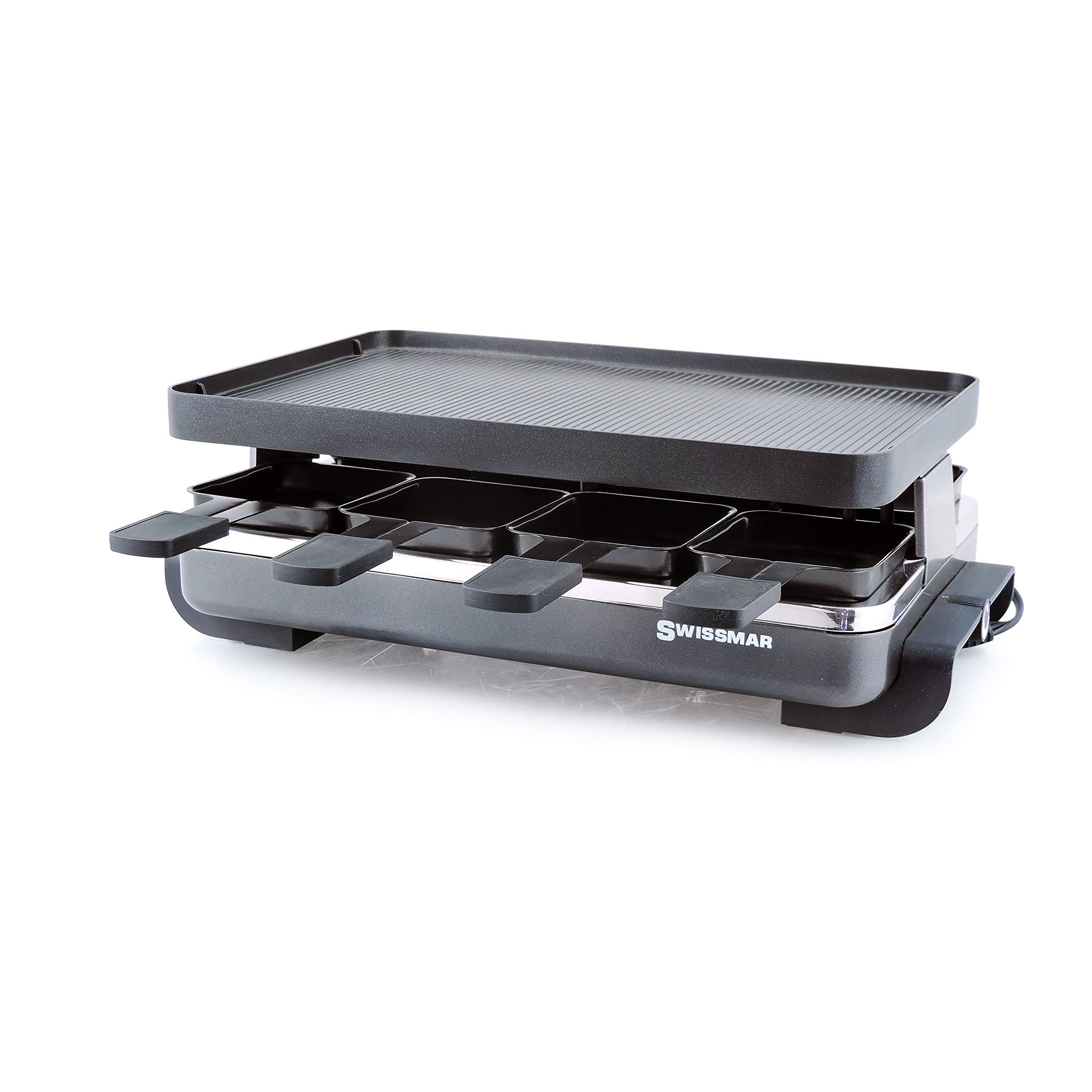 Swissmar KF-77041 Classic 8-Person Raclette with Reversible Cast Aluminum Non-Stick Grill Plate/Crepe Top, Black by Swissmar