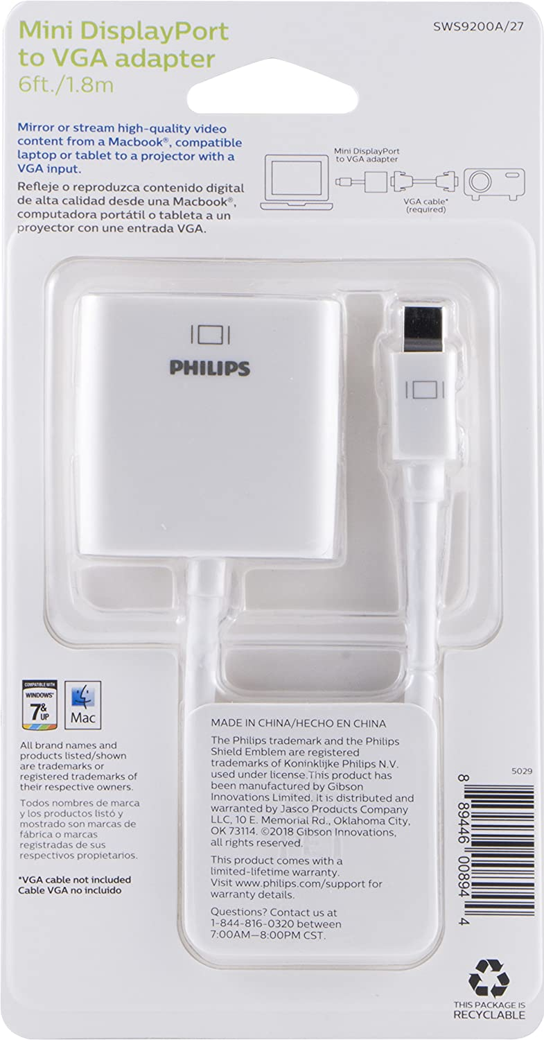Amazon.com: Philips - Adaptador Mini DisplayPort a VGA ...