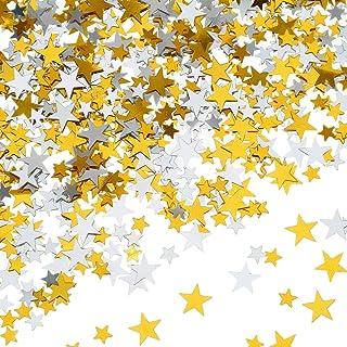 LuLyLu 60 g Stella Confetti Coriandoli Oro Argento Tavolo Confetti Metallico Stelle di Lamina per Feste Matrimonio Festival Decorazioni, Dimensioni Assortiti by