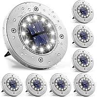 ZWOOS Luces solares de suelo, 8 Piezas 12 LED Iluminación de caminos, Luz de Tierra Impermeables IP65 para Jardín, Patio…