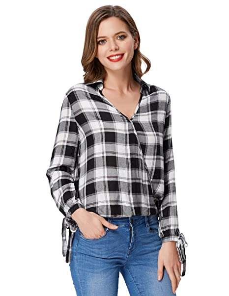 57258b138dd Kate Kasin Women s Casual Relaxed Fit Blouses V Neck Buffalo Plaid Shirt  (M