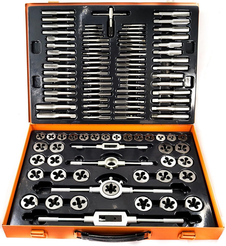 Kit Juego de machos y terrajas 110 piezas acero al tungsteno M2 M18-Caja metal ferramenta-utensili