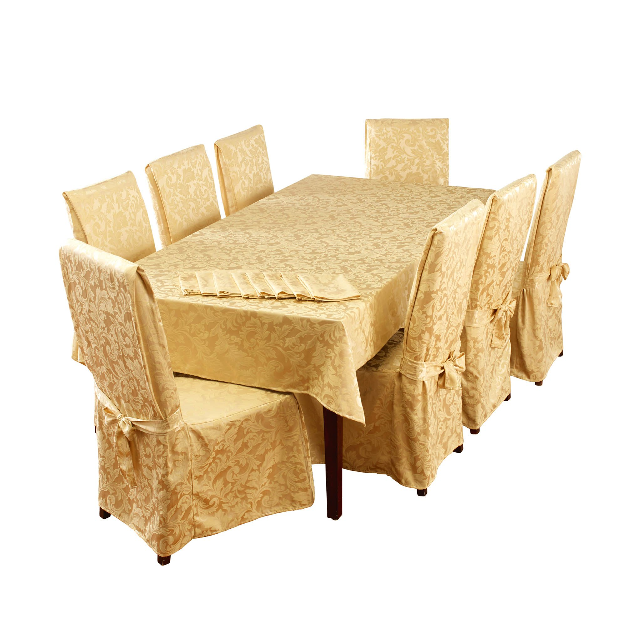 Stylemaster Home Products Genoa 17 Piece Dining Set, 60'' x 104'', Gold